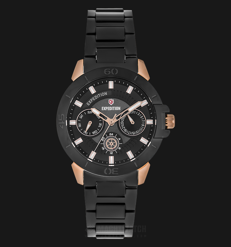 Expedition E 6758 BF BBRBA Ladies Black Dial Black Stainless Steel Strap Machtwatch