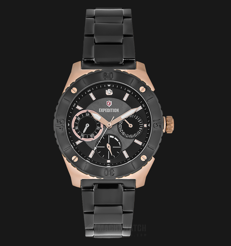 Expedition E 6759 BF BBRBA Ladies Black Dial Black Stainless Steel Strap Machtwatch