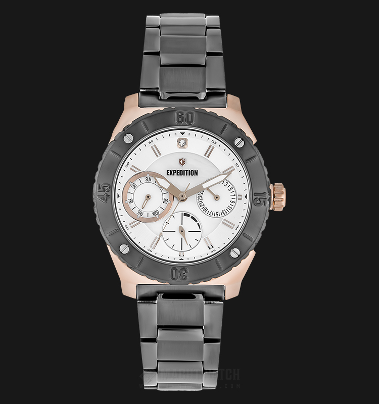 Expedition E 6759 BF BGRSL Ladies White Dial Grey Stainless Steel Strap Machtwatch