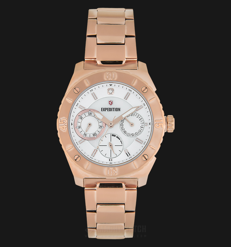 Expedition E 6759 BF BRGSL Ladies White Dial Rose Gold Stainless Steel Strap Machtwatch