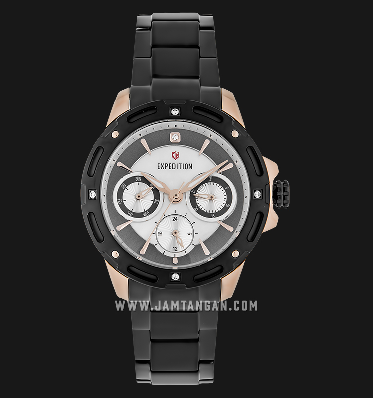 Expedition E 6760 BF BBRBA Ladies Mother of Pearl Dial Black Stainless Steel Machtwatch