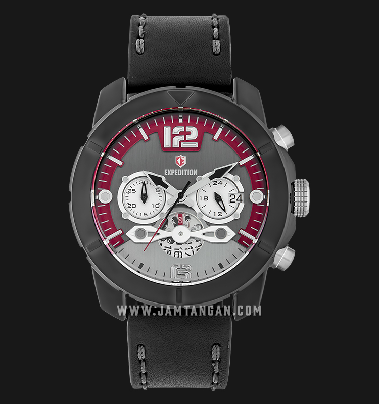 Expedition E 6761 MC LIPBA Chronograph Men Grey Dial Black Leather Strap Machtwatch