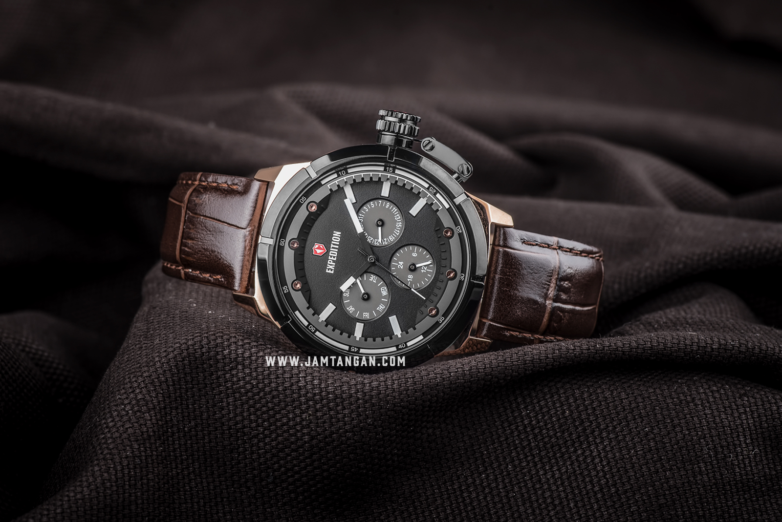 Expedition E 6765 BF LBRBA Ladies Black Dial Brown Leather Strap Machtwatch