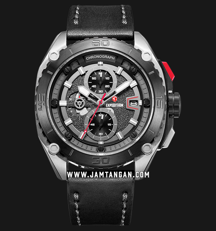 Expedition E 6777 MC LTBBA Chronograph Men Black Dial Black Leather Strap Machtwatch