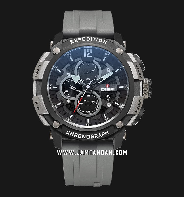 Expedition E 6781 MC REPBA Chronograph Men Black Dial Grey Rubber Strap Machtwatch