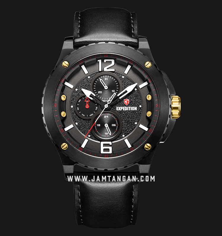Expedition E 6784 MF LGBBA Chronograph Men Black Dial Black Leather Strap Machtwatch