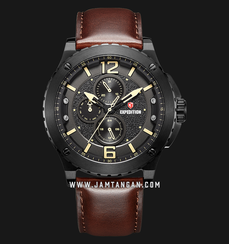 Expedition E 6784 MF LIPBAIV Chronograph Men Black Dial Brown Leather Strap Machtwatch