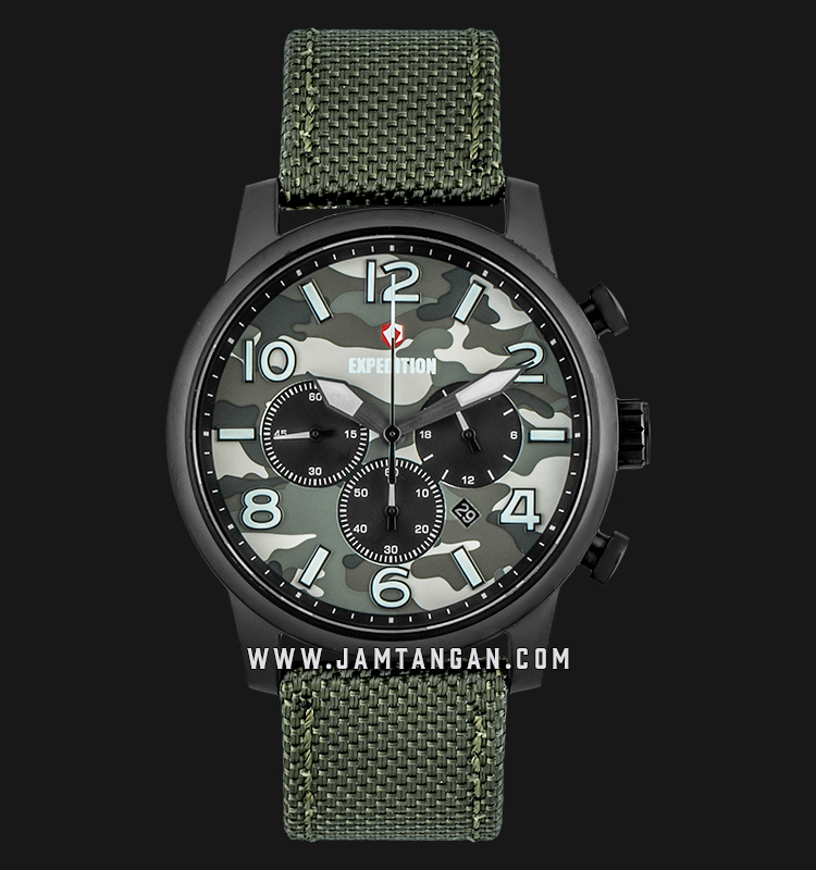 Expedition E 6672 MC NIPBA Chronograph Men Camouflage Dial Green Olive Nylon Strap Machtwatch