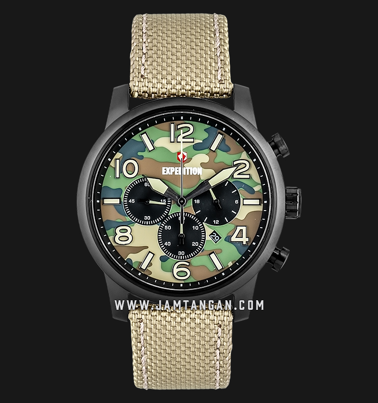 Expedition E 6672 MC NIPIV Chronograph Men Camouflage Dial Biege Nylon Strap Machtwatch
