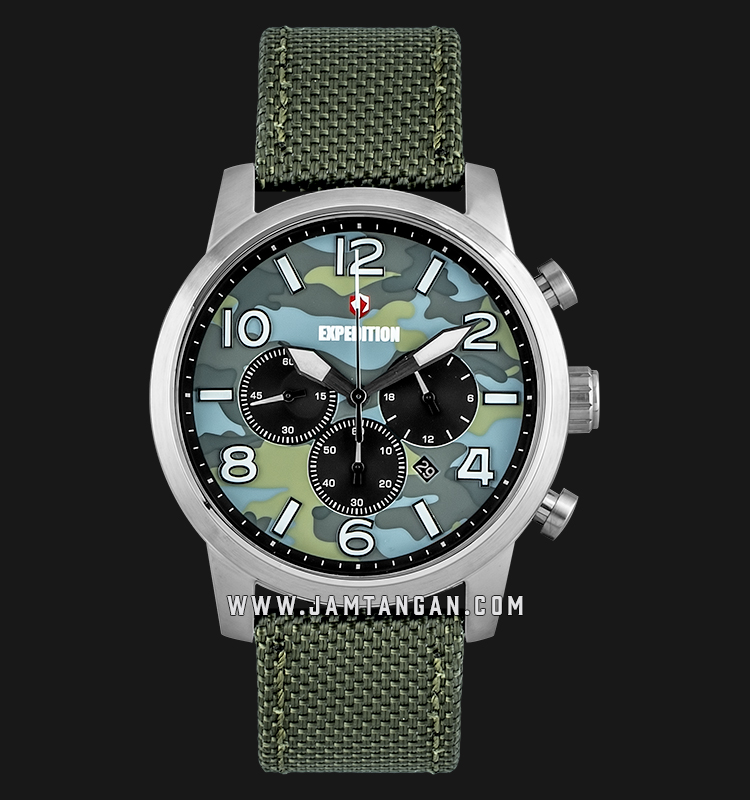 Expedition E 6672 MC NSSGN Chronograph Men Camouflage Dial Green Olive Nylon Strap Machtwatch