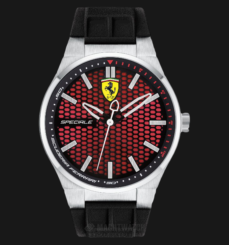 Ferrari 0830353 Scuderia Ferrari Men Red Dial Speciale Black Rubber Strap Machtwatch