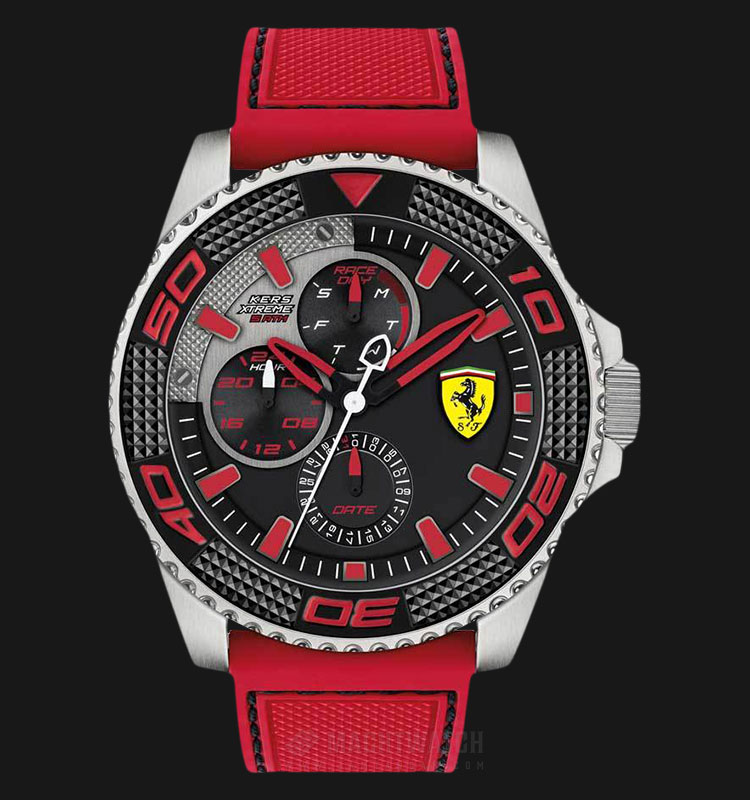 Ferrari 0830469 Kers Xtreme Men Black Dial Red Rubber Strap Machtwatch