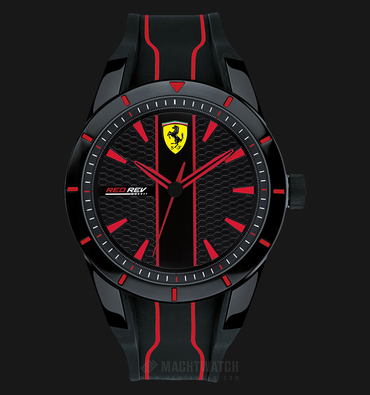 Ferrari 0830481 RedRev Men Black Dial Black Rubber Strap Machtwatch