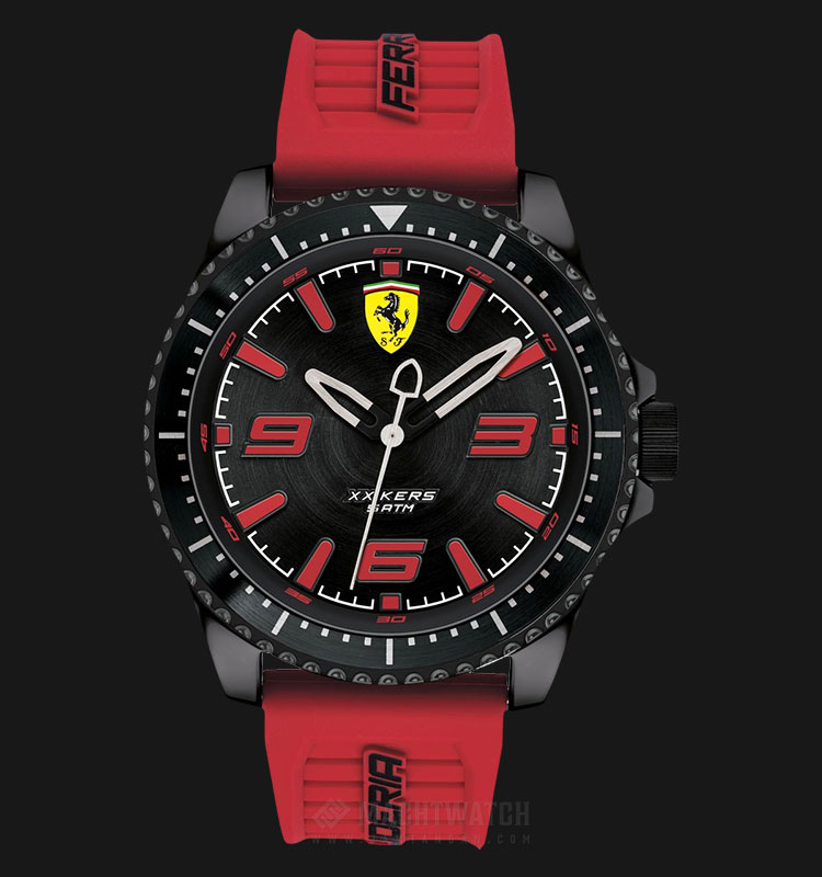 Ferrari Scuderia 0830498 Xx Kers Men Black Dial Red Rubber Strap Machtwatch