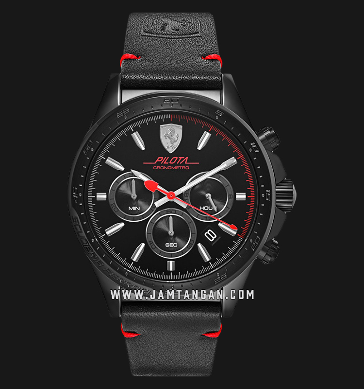 Ferrari Scuderia 0830434 Pilota Chronograph Men Black Dial Dual Black Leather Strap Machtwatch