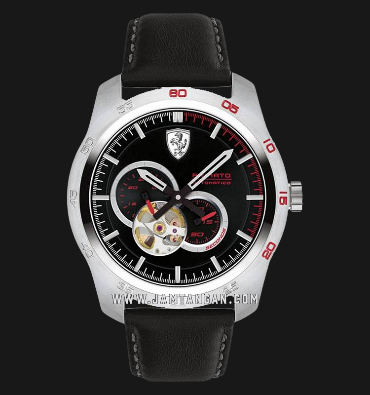 Ferrari Primato 0830442 Automatic Men Black Skeleton Dial Black Leather Strap Machtwatch