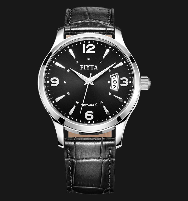 FIYTA Men Classic Automatic Watch Black Leather Strap DGA0008.WBB Machtwatch