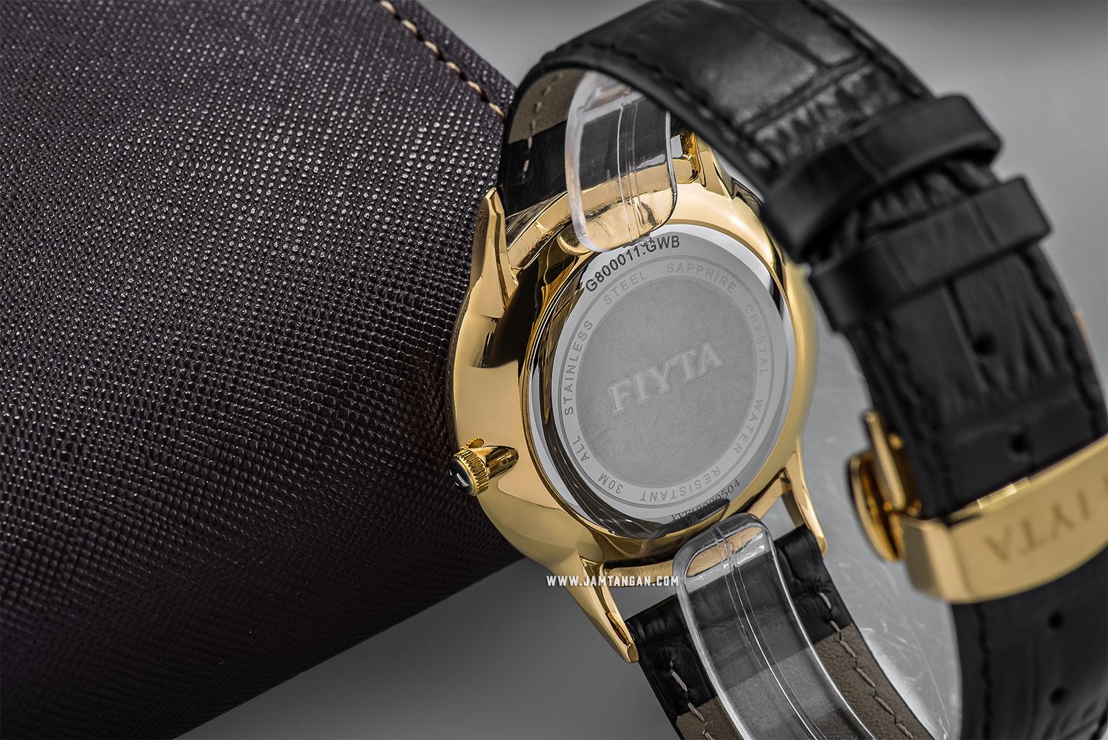 FIYTA G800011.GWB Joyart Roslice Man Crystal Silver Dial Black Leather Strap Machtwatch
