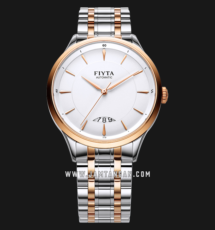 FIYTA GA520001.MWM Tempting Automatic Man White Dial Dual Tone Stainless Steel Machtwatch