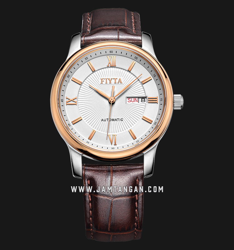 FIYTA GA8312.MWR Classic Automatic Man White Dial Brown Leather Strap Machtwatch