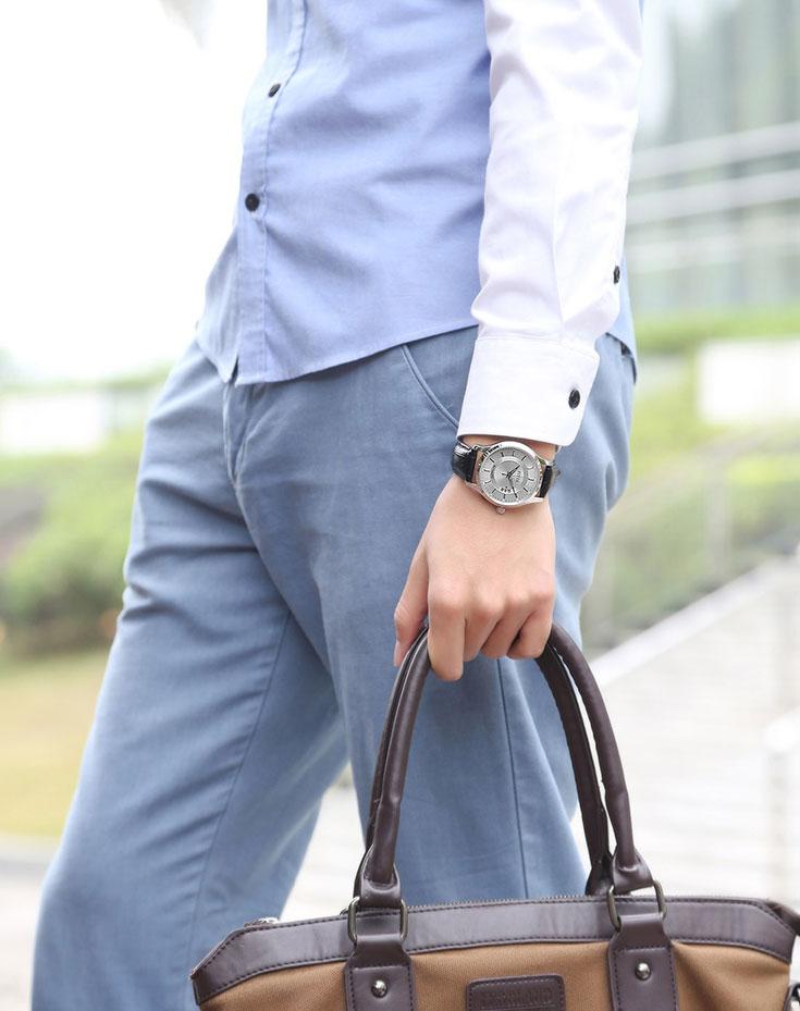 FIYTA Men Classic Black Leather Strap Automatic Watch GA8426.WWB Machtwatch
