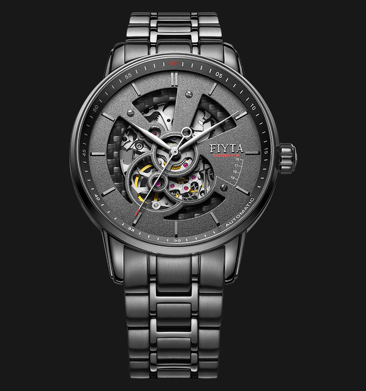 FIYTA Men Photographer Skeleton Automatic Stainless Steel Watch GA8486.BBB Machtwatch