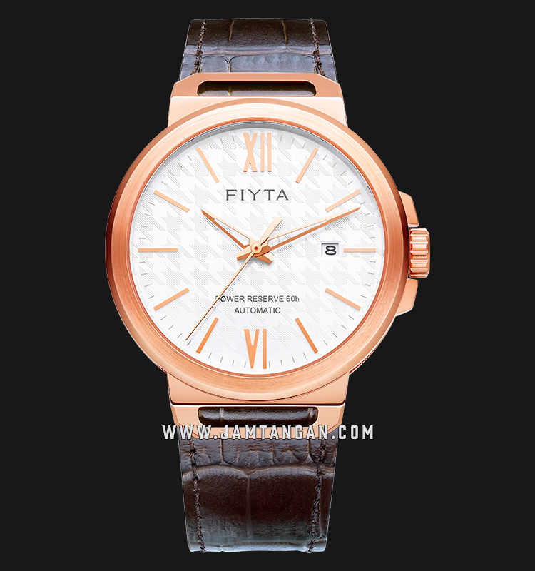 FIYTA GA852000.PWK Solo Collection Automatic Man White Dial Brown Leather Strap Machtwatch