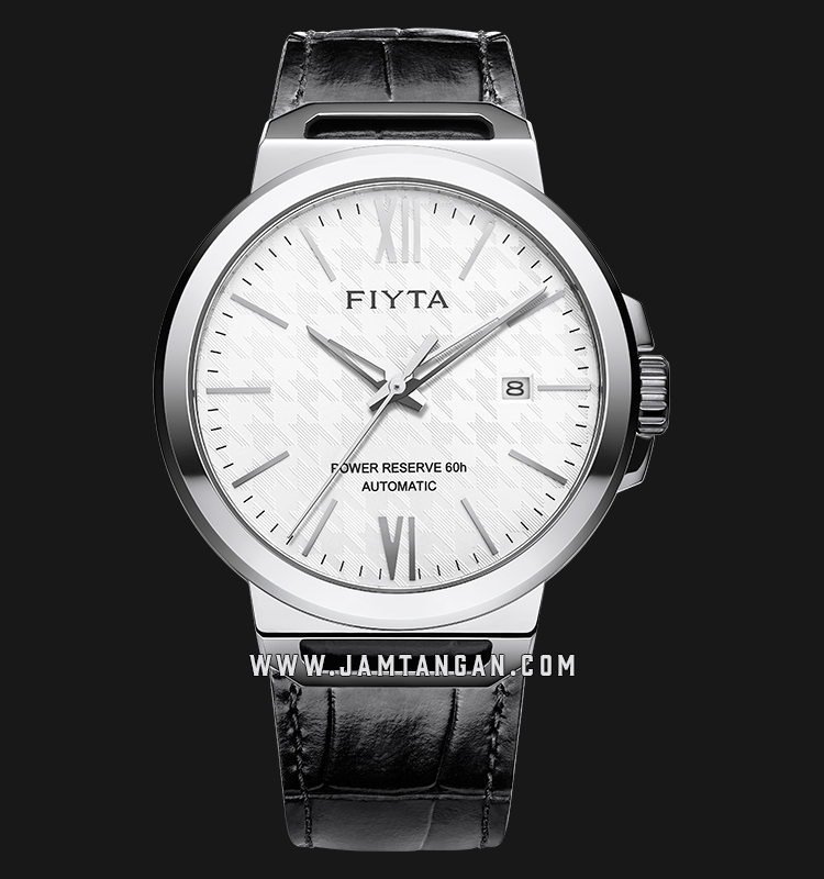 FIYTA GA852000.WWB Power Reserve Automatic Man White Dial Black Leather Strap Machtwatch