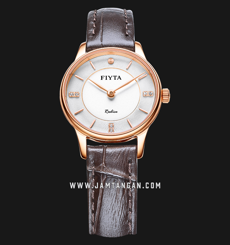 FIYTA L800012.PWK Joyart Ladies White Dial Brown Leather Strap Machtwatch