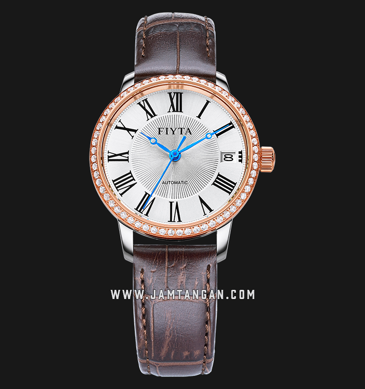 FIYTA LA802058.MWKD Classic Automatic Ladies Silver Dial Brown Leather Strap Machtwatch