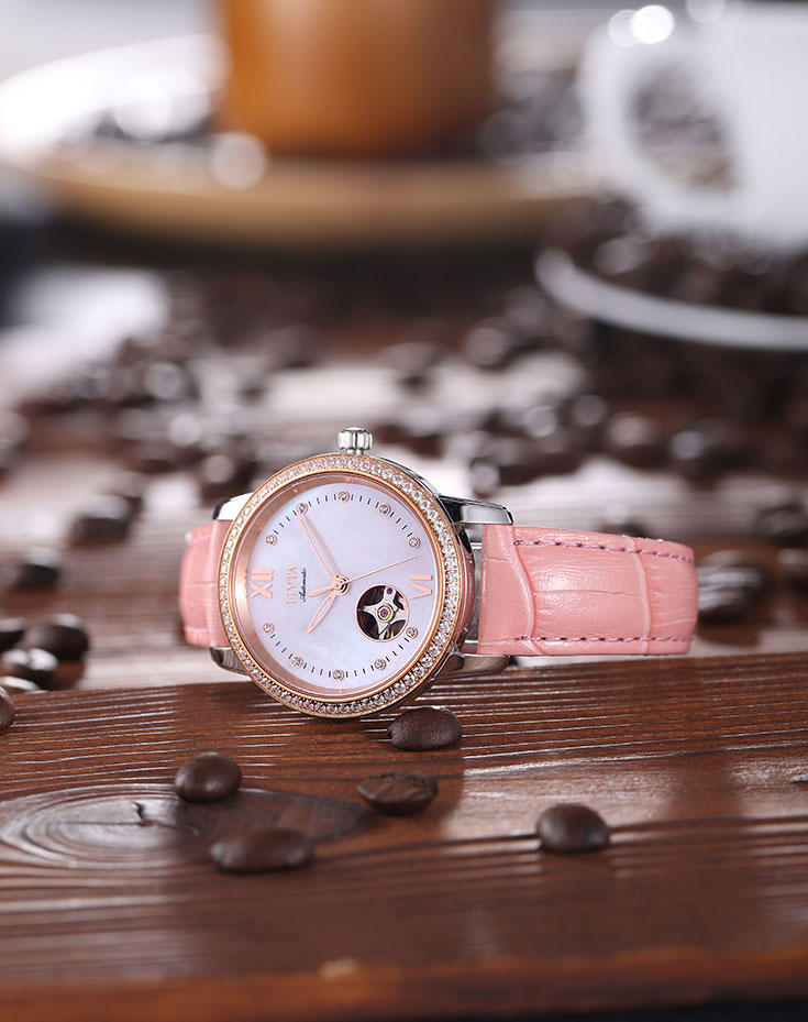 FIYTA Woman Pink Leather Strap Fashion Watch LA8366.MSSD Machtwatch
