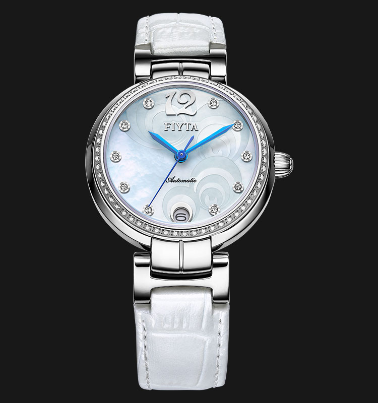 FIYTA Ladies Heartouching Automatic White Leather Strap LA8406.WWWD Machtwatch