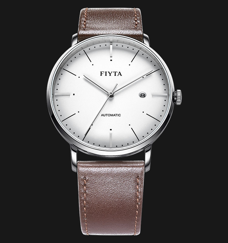 FIYTA Men Automatic Watch Black Leather Strap WGA800001.WWR Machtwatch