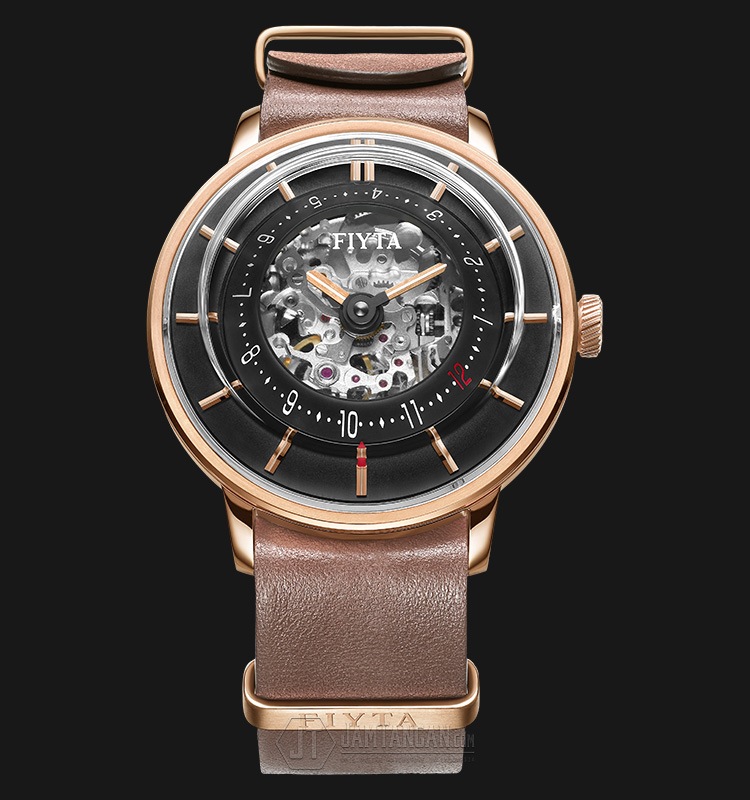FIYTA Men 3D Time Automatic Brown Leather + Nato Strap WGA868000.PBR Machtwatch