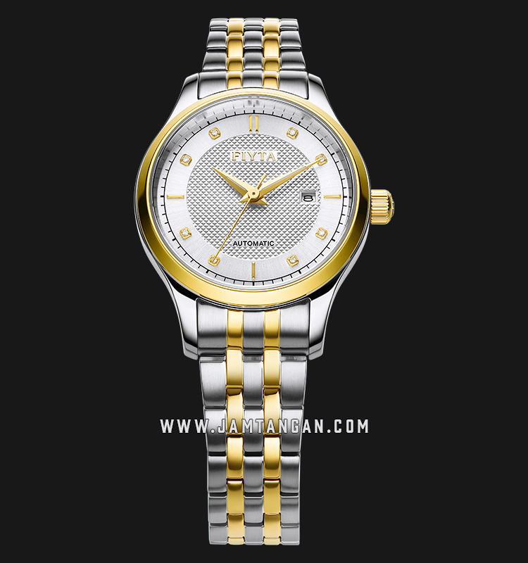 FIYTA WLA800015.TWT Classic Automatic Ladies Silver Dial Dual Tone Stainless Steel Machtwatch