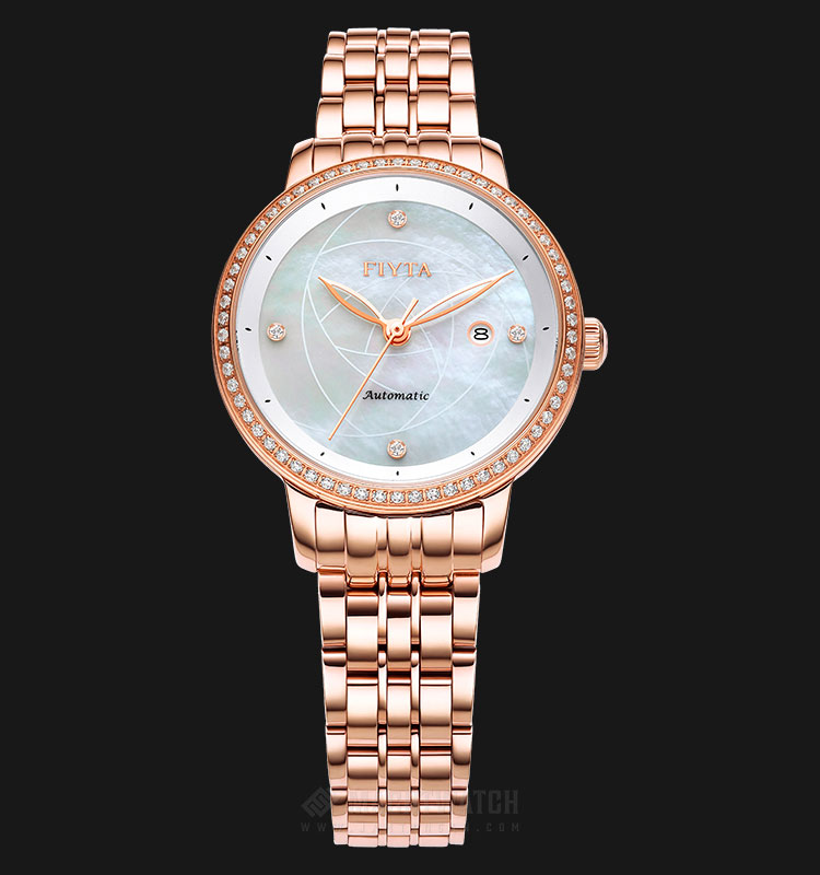FIYTA WLA805002.PWPD Ladies Mother of Pearl Dial Rose Gold Stainless Steel Strap Machtwatch