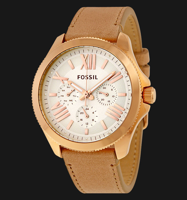Fossil AM4532 Cecile Multifunction Rose Gold Glitz Sand Leather Strap Machtwatch