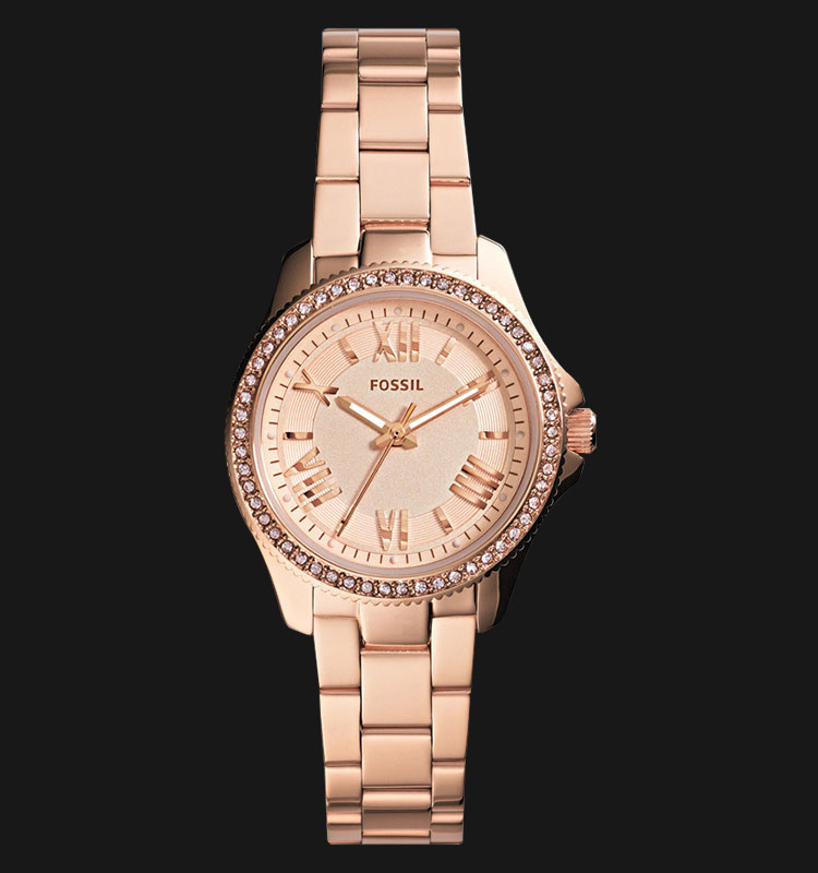 Fossil AM4578 Cecile Mini Rose Gold Glitz Stainless Steel Machtwatch