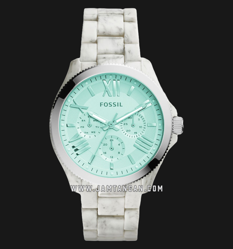 Fossil AM4644 Cecile Multifunction Ladies Turquoise Dial White Acetate Strap Machtwatch