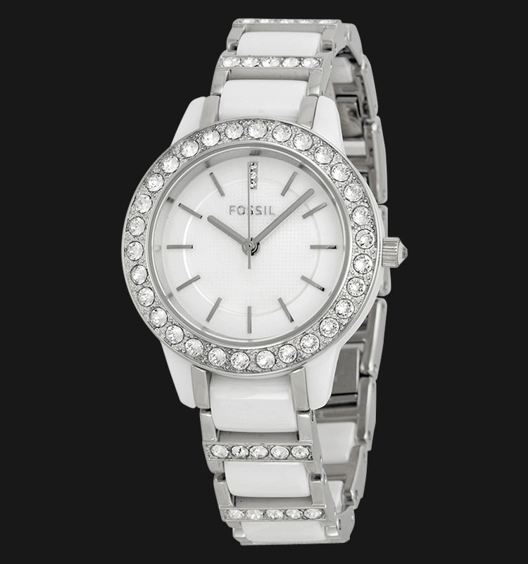 Fossil CE1017 Ladies Jesse Three Hand White Dial Ceramic White Stainless Steel Strap Machtwatch