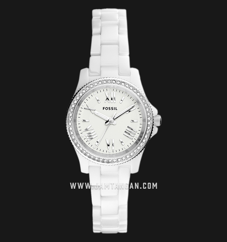 Fossil CE1085 Cecile White Dial White Ceramic Strap Machtwatch