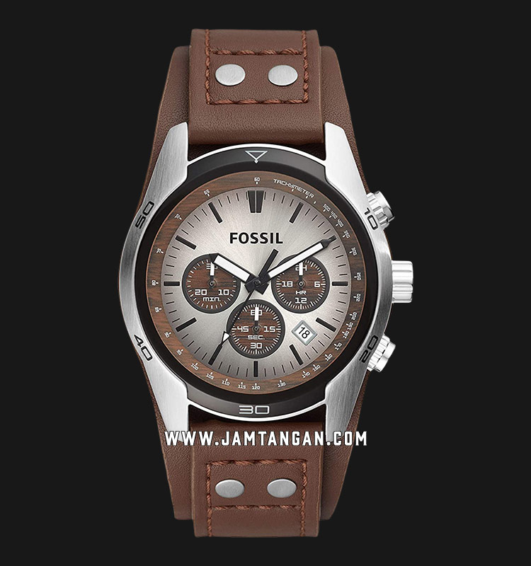 Fossil CH2565 Coachman Chronograph White Dial Brown Leather Strap Machtwatch