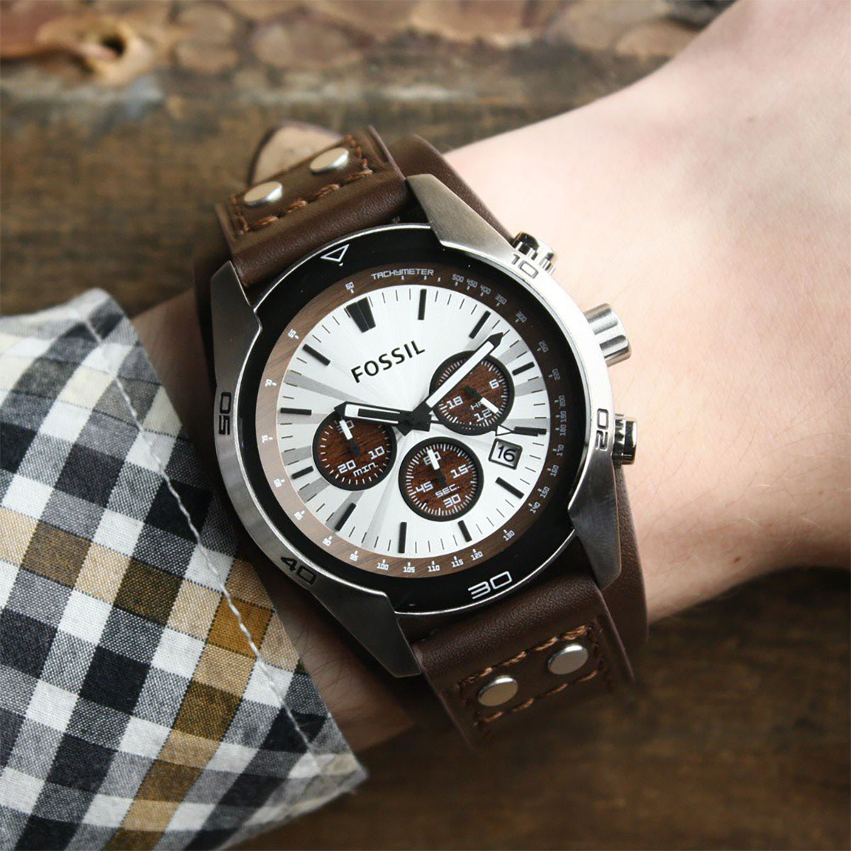 Fossil CH2565 Coachman Chronograph Silver Dial Brown Leather Strap Machtwatch