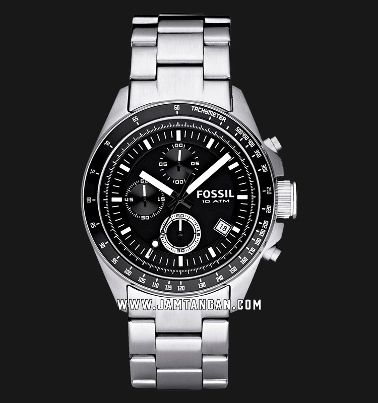 Fossil CH2600 Decker Chronograph Black Dial Stainless Steel Strap Machtwatch