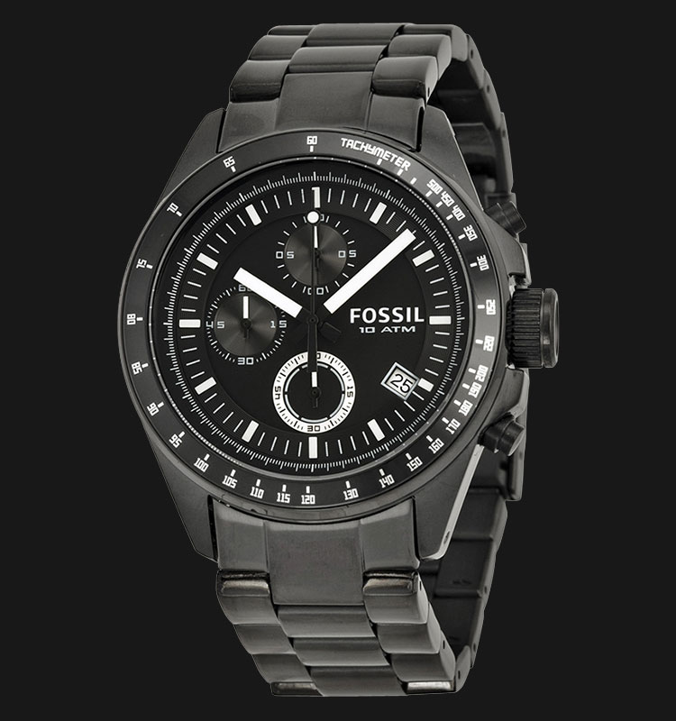 Fossil CH2601 Decker Chronograph Black Dial Black Stainless Steel Machtwatch