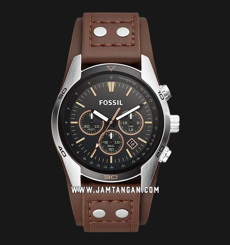 Fossil CH2891 Coachman Chronograph Black Dial Brown Leather Strap Machtwatch