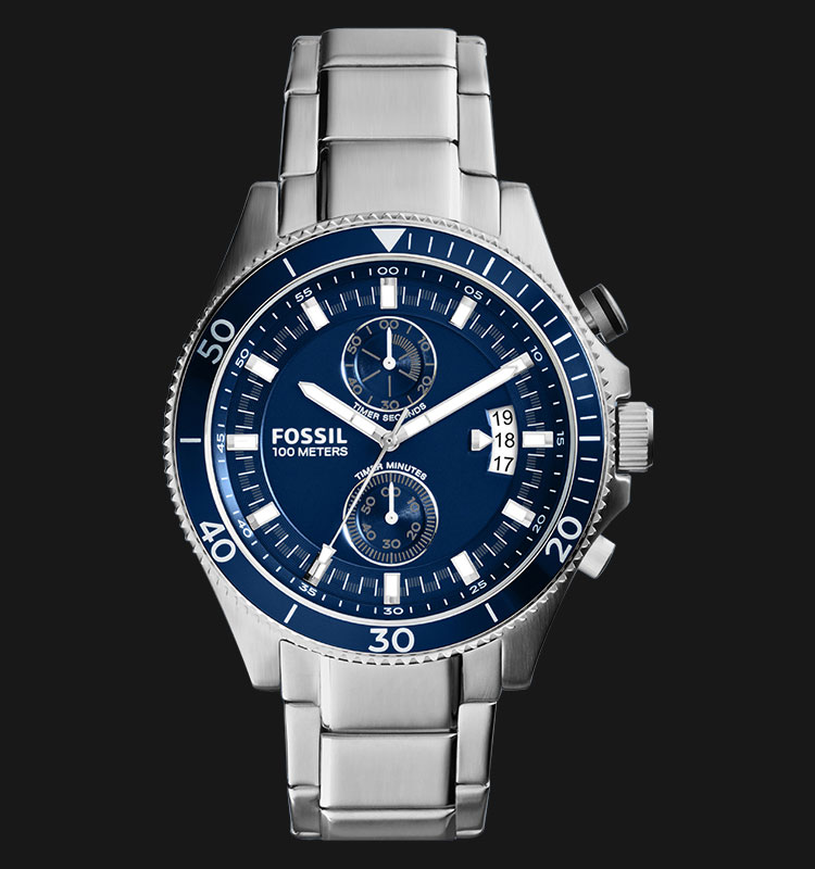 Fossil CH2937 Wakefield Chronograph Blue Dial Stainless Steel Strap Machtwatch