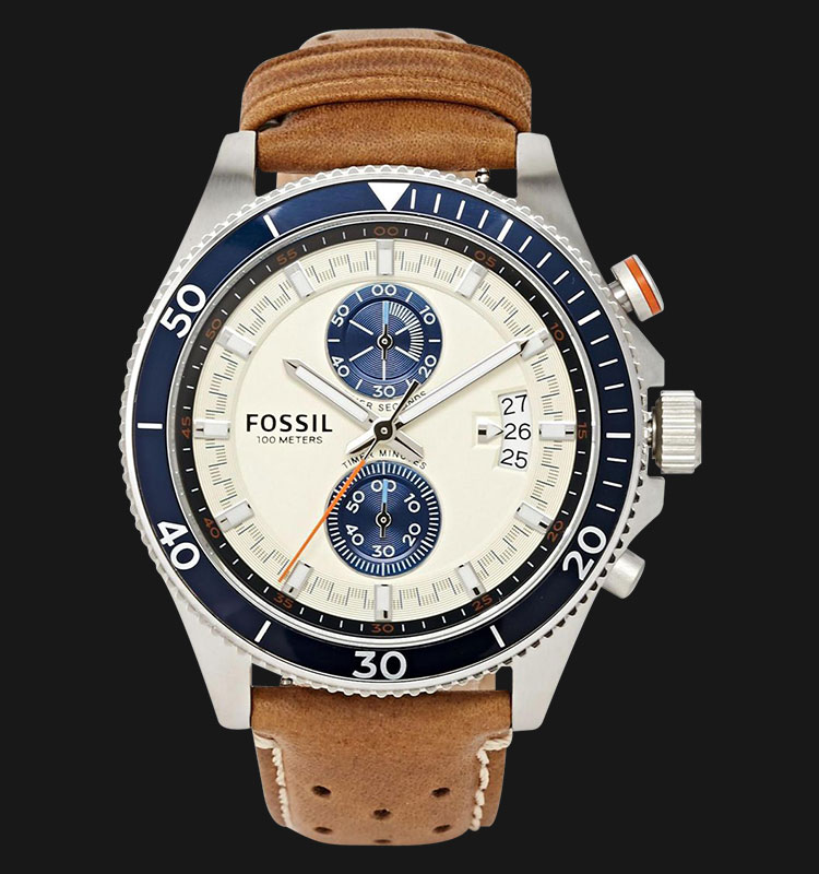 Fossil CH2951 Wakefield Chronograph Cream Dial Brown Leather Strap Machtwatch