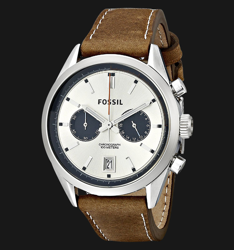 Fossil CH2952 Del Rey Chronograph Silver Dial Brown Leather Strap Machtwatch