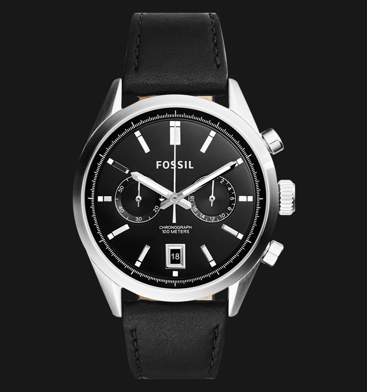 Fossil CH2972 Men Del Rey Chronograph Black Dial Black Leather Strap Machtwatch